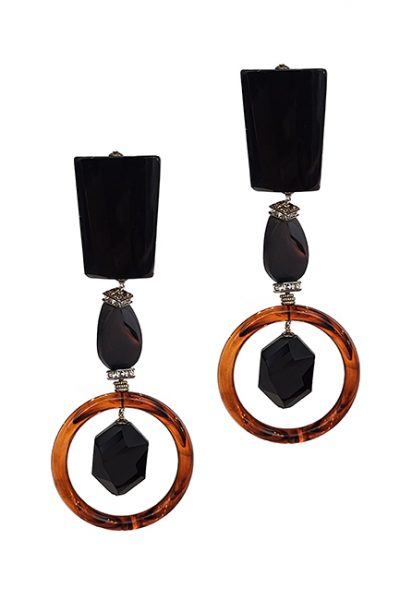 Marilyn Italian Made Long Semi-Precious Stone, Crystal, and Resin Clip Earrings
