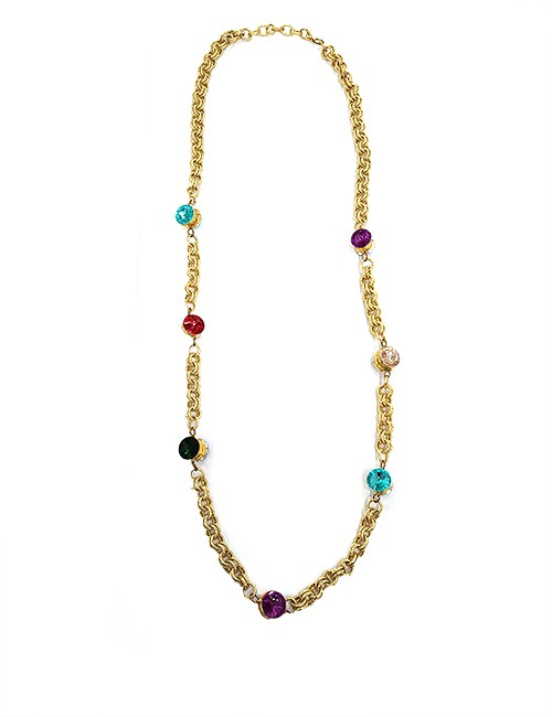 Marilyn Handmade Italian Gold-plated Aluminum Chain with Swarovski Color Crystals Necklace
