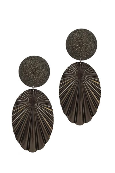 Marilyn Italian Made Long Metal Components Fan design textured Clip Earrings