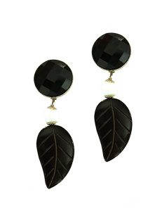 Marilyn Italian Made Long leaf Drop Resin, Pierced Earrings