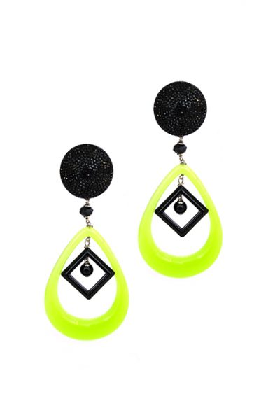 Marilyn Italian Made Long Black and Lime Resin, Clip Earrings
