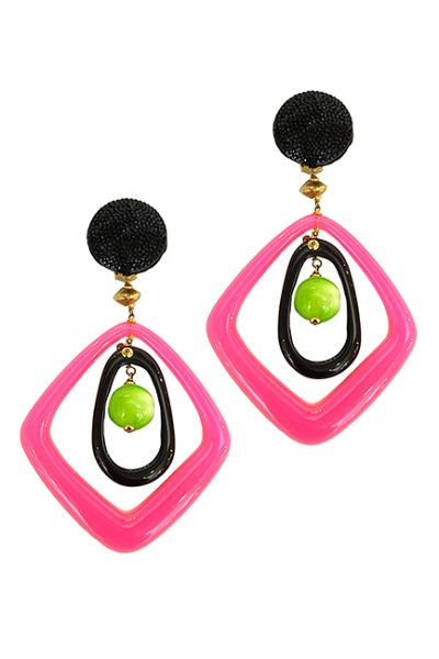 Marilyn Italian Made Long Black Pink and Lime Resin, Pierced/Clip Earrings