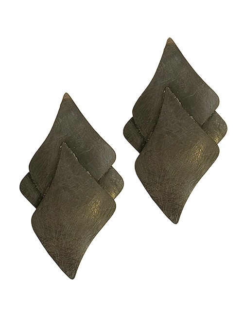 Marilyn Italian Made Metal Components three-layer leaves Clip Earrings