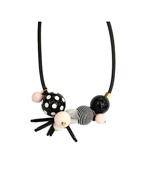 Marilyn Italian Resin Geometric balls, Clear rings, and Texture Short Necklace