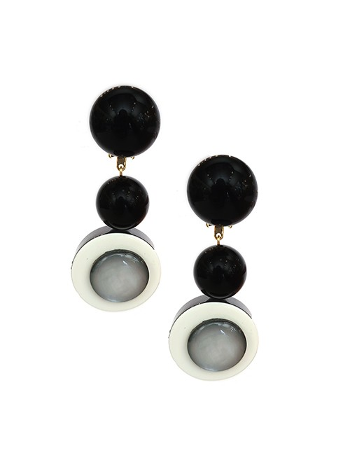 Marilyn Handmade in French Three Round, Ball, and Disc drop Resin Clip Earrings