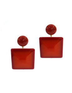 Marilyn French Square Hanging Resin Clip Earrings