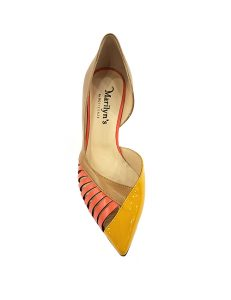 Marilyn, Italian Handmade High Styled Patent Leather and Leather Geometric 2-inch Heel Shoes