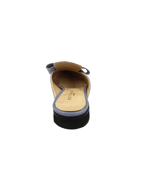 Marilyn, Italian Handmade Flat Slip in, Texture Pressed Leather with Leather Bow 1-inch Heel Shoes