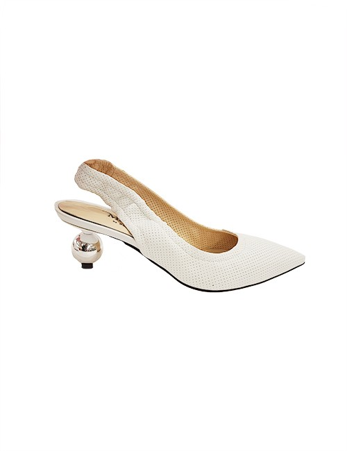 Marilyn, Italian Handmade Comfortable Textured Slingback Leather with Silver Ball 2-inch Heel Shoes