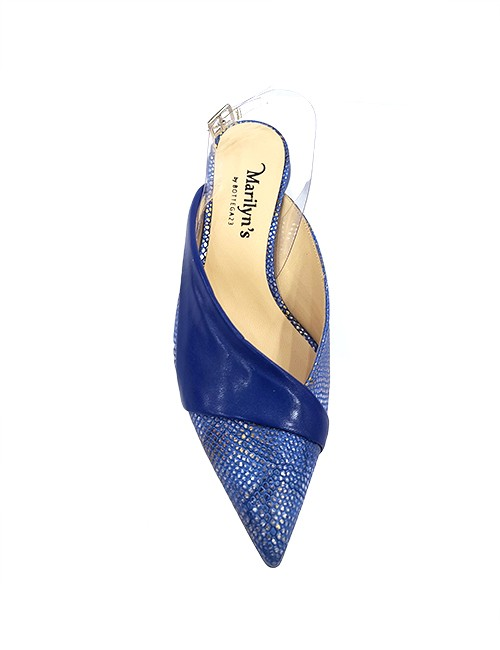 Marilyn, Italian Handmade Textured Leather with Silver Glaze and Leather detail design, Flat Mule 1.5-inch Heel Shoes