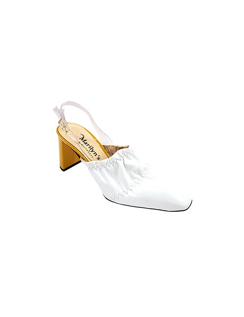 Marilyn, Italian Handmade Leather and Patent Mule Plead Toe and Half Moon Block 3-inch Heel Shoes