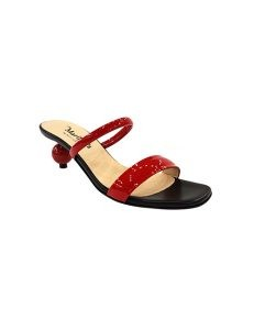 Marilyn, Italian Handmade Leather and Patent Mule Sandal, Ball 2-inch Heel Shoes