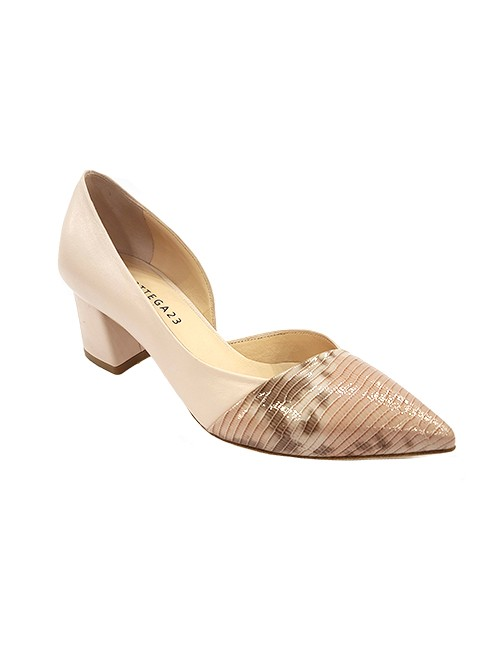 Marilyn, Italian Handmade Nude Leather with, Texture Pressed Printed Leather Across the Toe 2-inch Heel Shoes