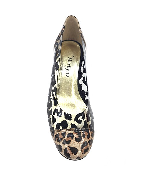 Marilyn French handcrafted Comfortable, Clear and Patent Animal Print Flat One-inch Heel Shoes
