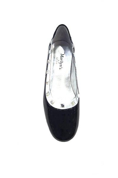 Marilyn French handcrafted Comfortable, Clear and Patent leather Flat One-inch Heel Shoes