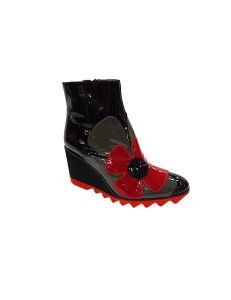 Marilyn French handcrafted Comfortable, Three Color Patent Leather Short Boot Wedge Platform 0.5 with 2 1-inch Heel