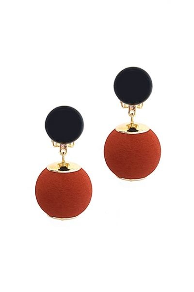 Marilyn French Hanging Ball Mat Resin Clip Earrings