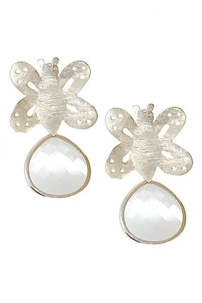 Marilyn Handmade Italian Brushed Silver Butterfly, with Crystal Drop, Pierced Earring