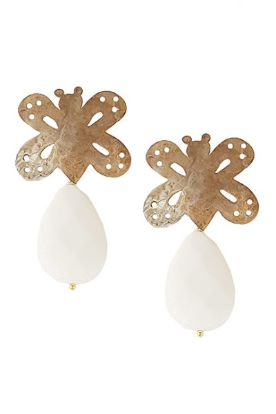 Marilyn Handmade Italian Silver-Plated Hammered Brushed and semi-precious Stones, removable Drop, Pierced Earring