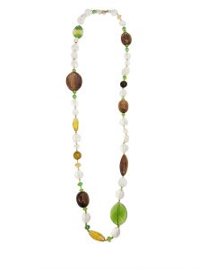 Marilyn Handmade Italian Colored Crystals and Wood Necklace