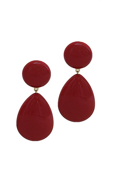 Marilyn French Tear Drop Resin Clip Earrings