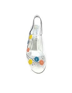 Marilyn French handcrafted Comfortable, Clear Hand Painted Flowers and Swarovski's Low Wedge Two-inch Heel Shoes