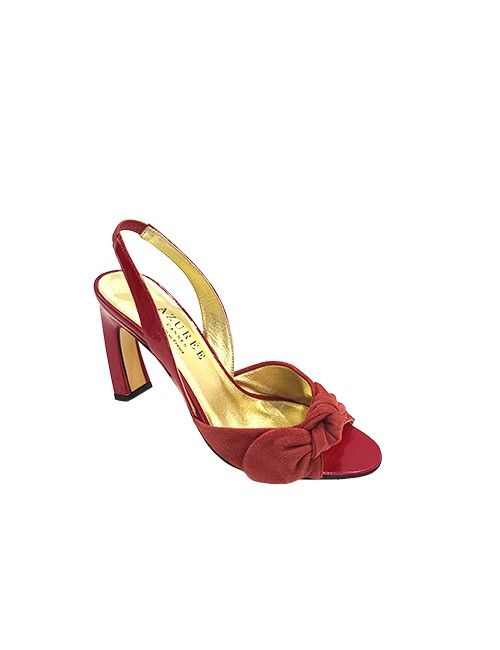 Marilyn French handcrafted Comfortable, Red Suede and Patent Leather, Sling back, open toe 3.5-inch Heel Shoes