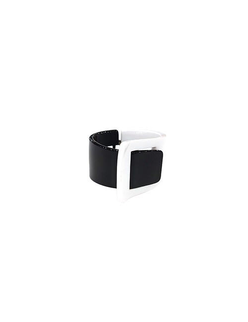 Marilyn French Black and White Resin Hinged Bracelet