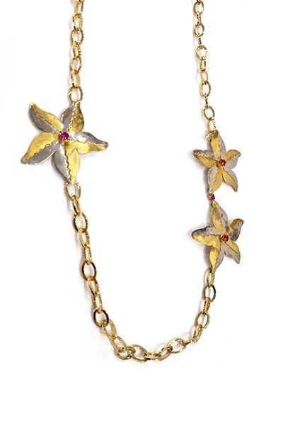 Marilyn Handmade Italian Gold-Plated Chain and Star Pendants with Swarovski Crystals Necklace