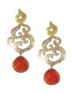 Marilyn Handmade Italian Silver and Gold-Plated Hammered Brushed and Red semi-precious Stones, removable Drop, Pierced Earring