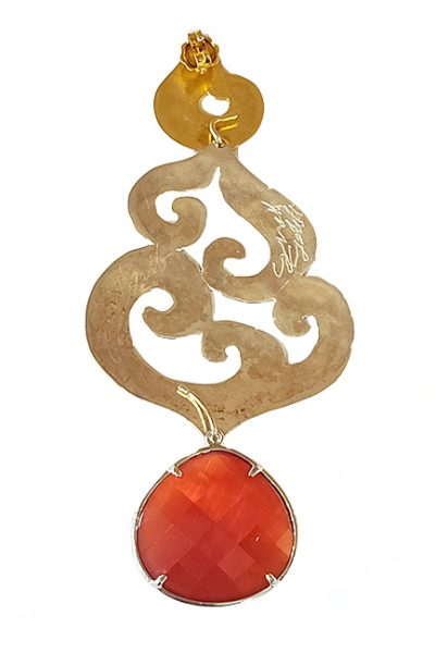 Marilyn Handmade Italian Long Silver and Gold-Plated Hammered Design, and semi-precious Stones, removable Drop, Pierced Earring