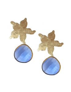 Marilyn Handmade Italian Silver -Plated Hammered Brushed and Blue semi-precious Stones, removable Drop, Clip Earring