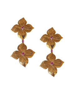 Marilyn Handmade Italian Gold-Plated Hammered Flowers with Crystal, Pierced Earring