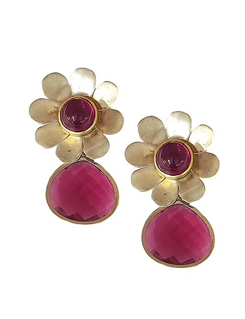 Marilyn Handmade Italian Flower Silver-Plated Design, and Colored Glass, removable Drop, Pierced Earring