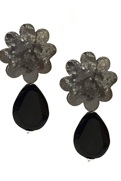 Marilyn Handmade Italian Brushed Blacken Silver Flower, with Annex Drop, Clip Earring