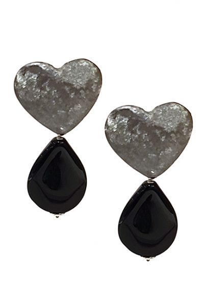 Marilyn Handmade Italian Brushed Blacken Silver, with Annex Drop, Clip Earring