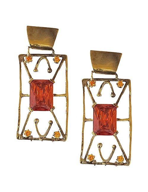 Marilyn Handmade Italian Gold-Plated with Crystal, Pierced Earring