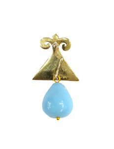 Marilyn Handmade Italian Gold-Plated Enameled Triangle and semi-precious Stones and Pearl removable Drops, Pierced Earring
