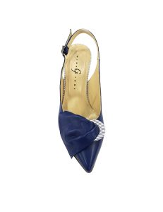 Marilyn, Italian Handmade Slingback tow tone Navy Leather and Strip 3-inch Heel Shoes