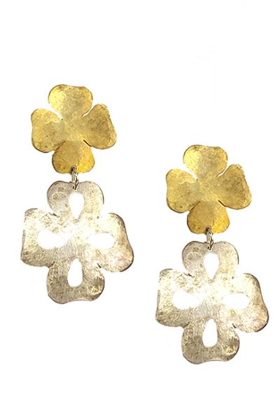 Marilyn Handmade Italian Silver and Gold-Plated Hammered Brushed, Pierced Earring
