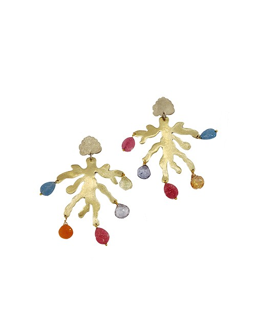 Marilyn Handmade Italian Gold-Plated Branch Design, and semi-precious Drops, Pierced Earring