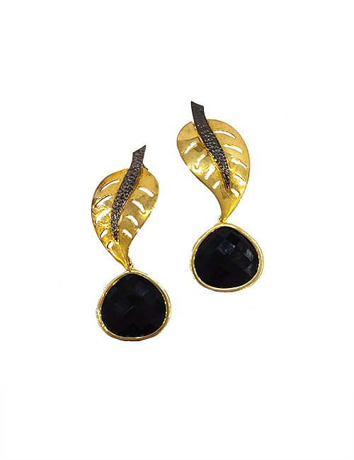 Marilyn Handmade Italian Gold-Plated, Enamel Detail and Glass Pierced Earring