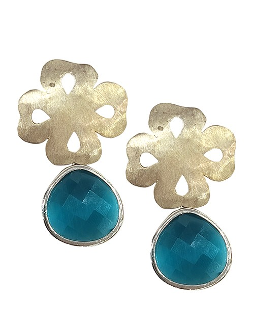 Marilyn Handmade Italian Clover Silver-Plated Design, and Colored Glass, removable Drop, Pierced Earring