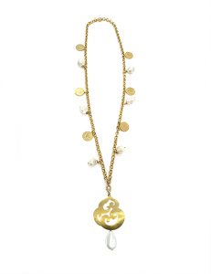 Marilyn Handmade Italian Gold-Plated, Necklace, with Contemporary design Pendant Drop, and Coin, raw Pearl Details