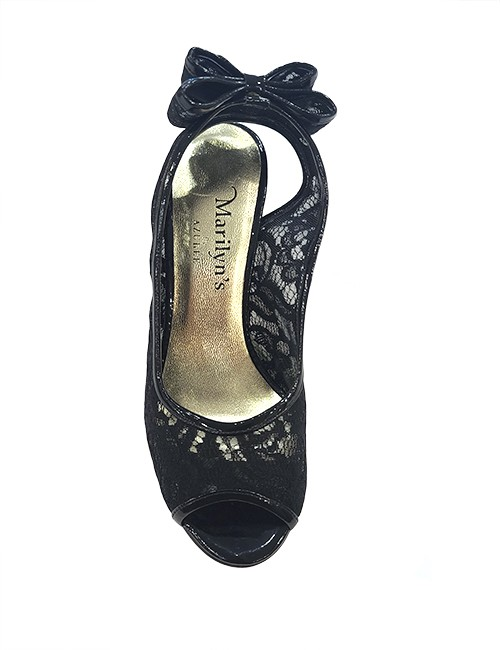 Marilyn French handcrafted Comfortable, Patent Leather and Lace, Sling back, open toe Swarovski crystal 3-inch Heel Shoes