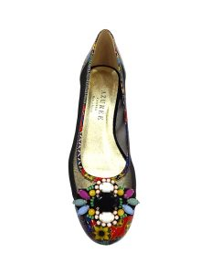 Marilyn French handcrafted Comfortable, Print Patent Leather and mash Flat Shoe 1-inch Heel Shoes