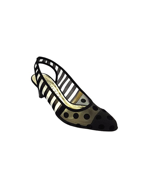 Marilyn French handcrafted Comfortable, Suede and Mesh Strip and Dot at the Toe, Slingback 2.5-inch Heel