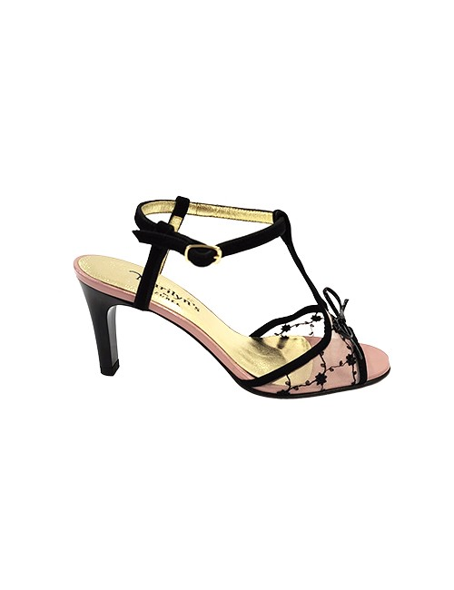 Marilyn French handcrafted Comfortable, Suede and Embroidered Flowered Mesh, open Toe, T-Strap 3-inch Heel