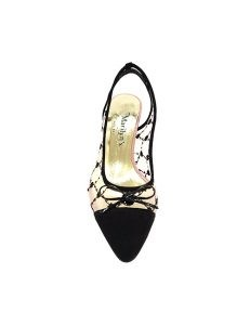 Marilyn French handcrafted Comfortable, Suede Leather and Embroidered Mesh, Slingback 2.5-inch
