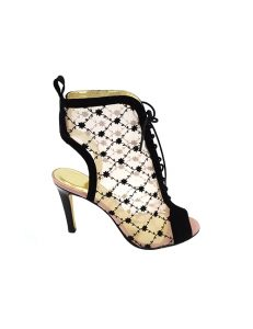 Marilyn French handcrafted Comfortable, Patent, Suede and Embroidered Flowered Mesh, open Toe, Open Heel, Laced 4-inch Heel Short Booth